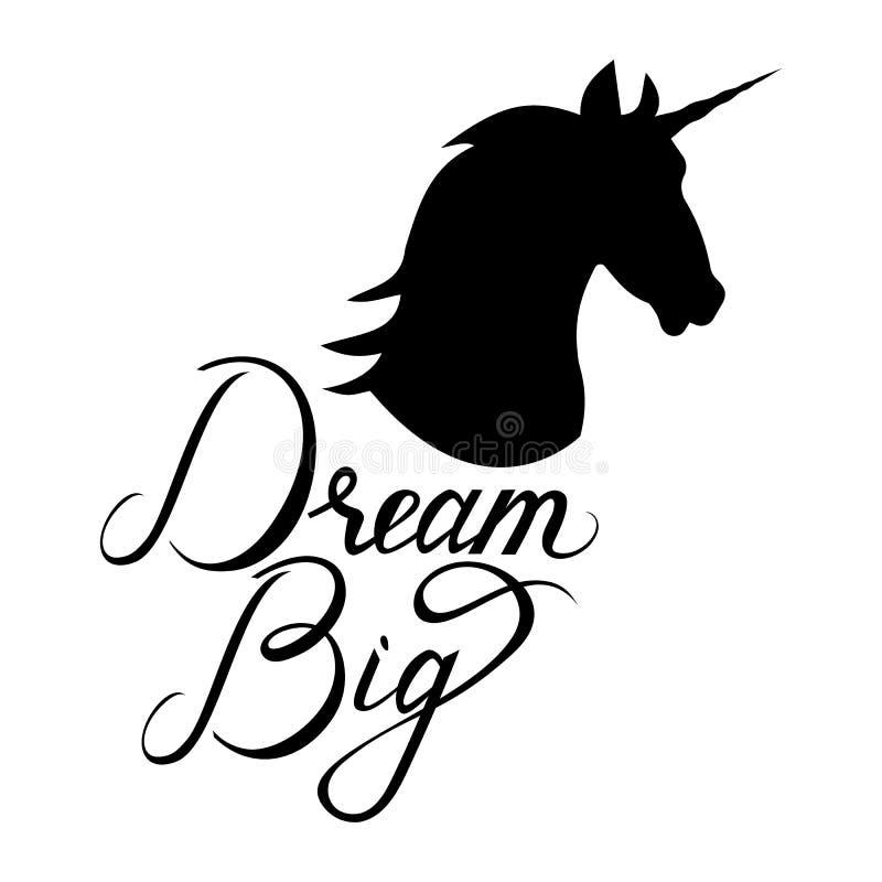 Silueta principal del unicornio con el texto libre illustration