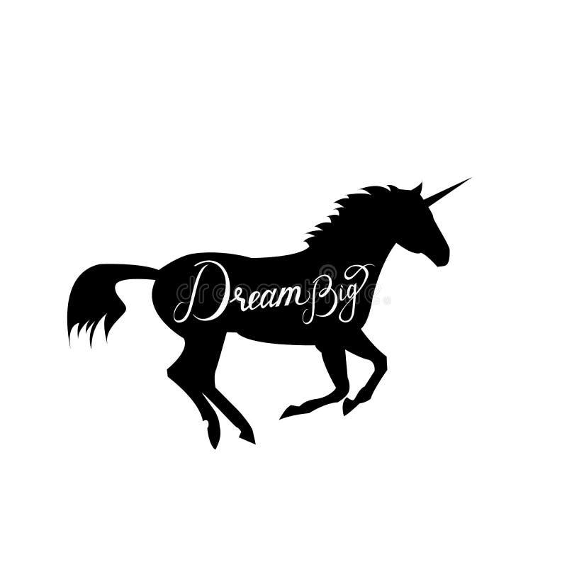 Silueta principal del unicornio con el texto ilustración del vector