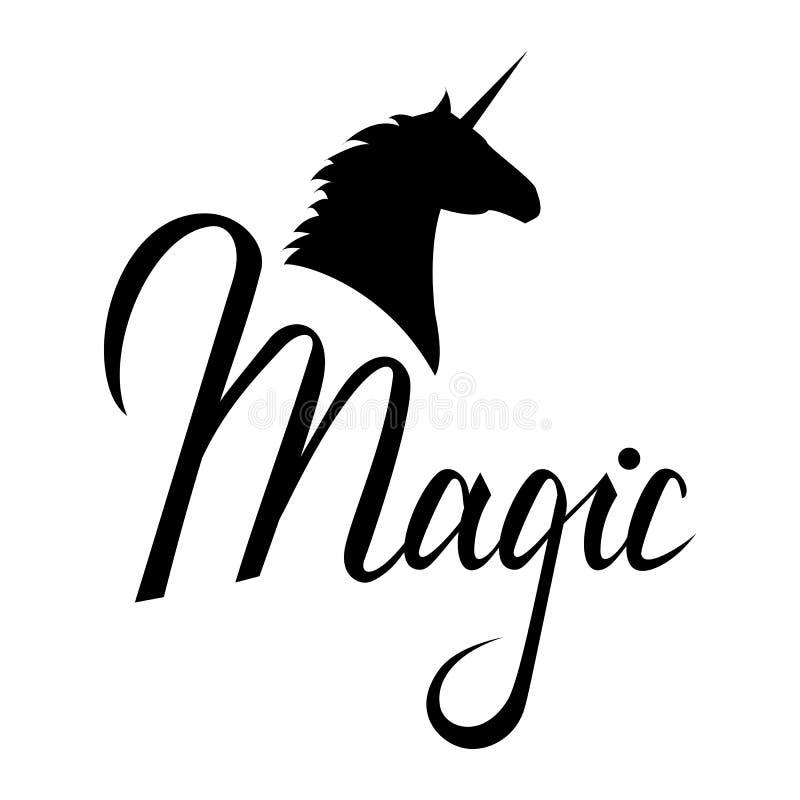 Silueta principal del unicornio con el texto stock de ilustración