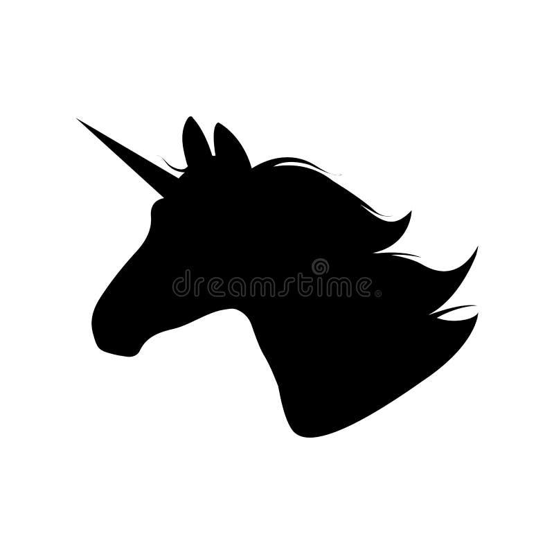 Silueta principal del unicornio Ilustración drenada mano del vector Unicorn Logotype aisló en blanco Perfil animal mágico imagen de archivo
