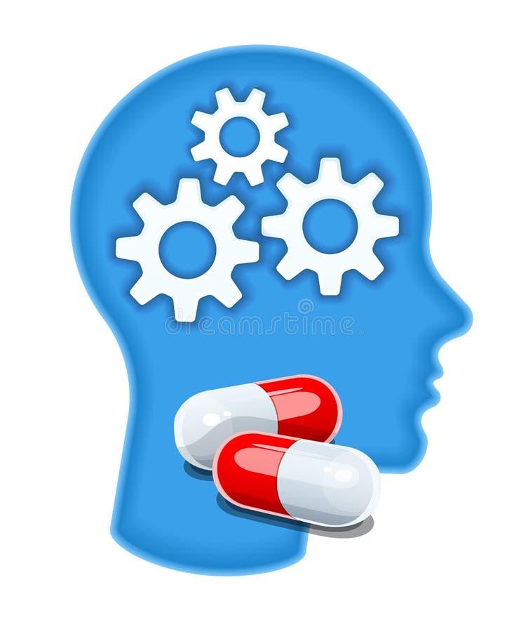 Silueta principal humana con las píldoras de la droga Salud del cerebro Ilustraci?n del vector libre illustration