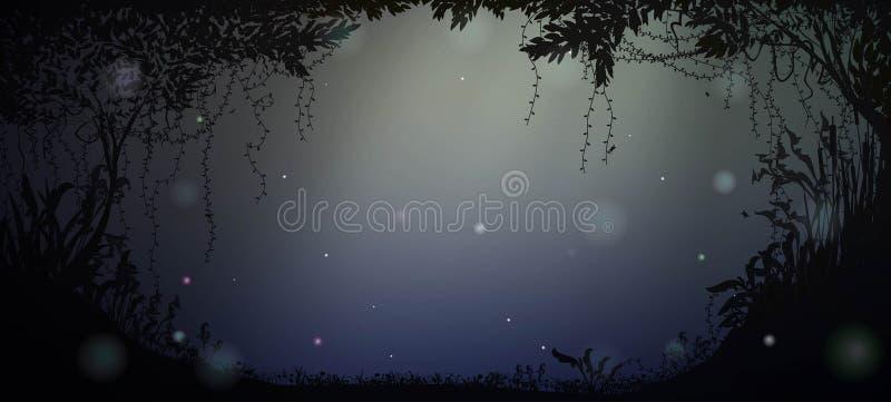 Silueta profunda del bosque de hadas en la noche con claro de luna y luciérnagas, ilustración del vector