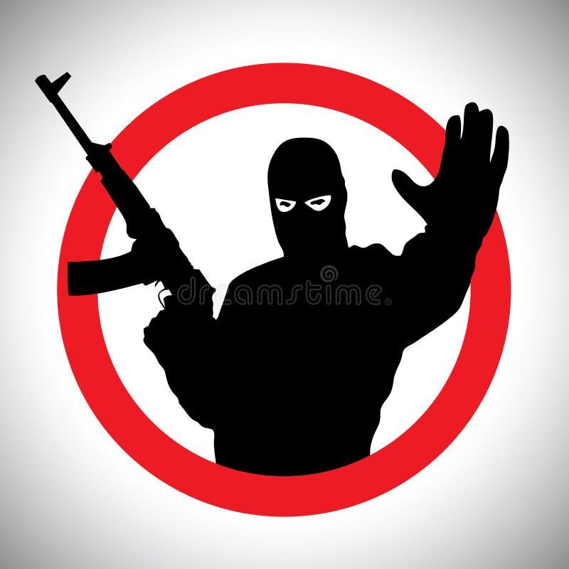 Silueta prohibitoria de las muestras del militar con su mano aumentada ilustración del vector