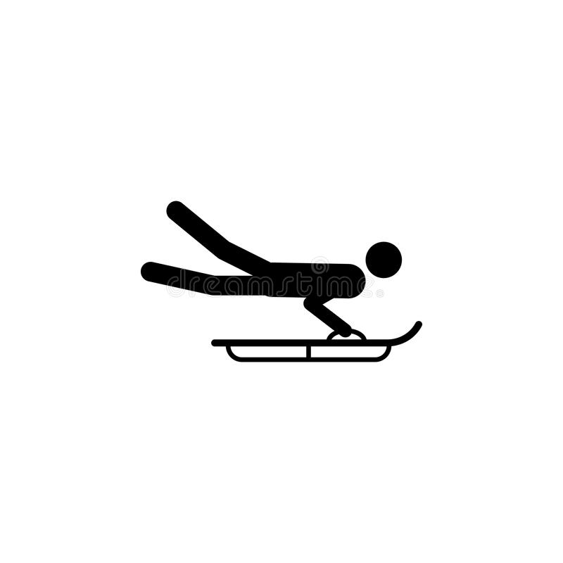 Silueta que monta un icono del atleta del trineo Disciplina de los juegos del deporte de invierno Ejemplo blanco y negro del vect ilustración del vector