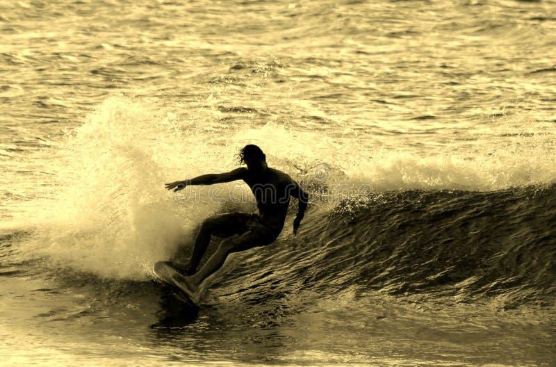 Silueta que practica surf imágenes de archivo libres de regalías