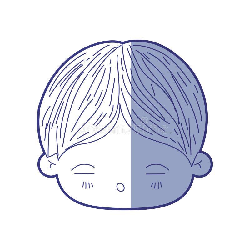 Silueta que sombrea azul de la cabeza del kawaii del niño pequeño con la expresión facial de cansado ilustración del vector