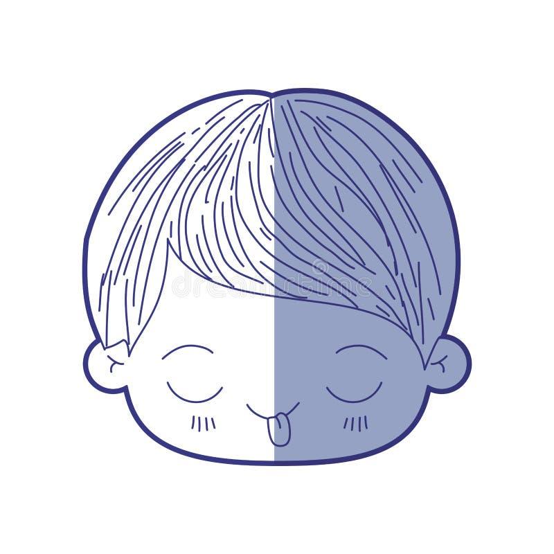 Silueta que sombrea azul de la cabeza del kawaii del niño pequeño con la expresión facial divertida libre illustration