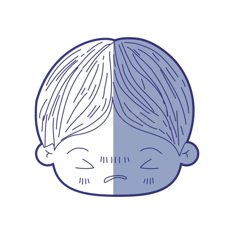 Silueta que sombrea azul de la cabeza del kawaii del niño pequeño con la expresión facial enojada con los ojos cerrados libre illustration