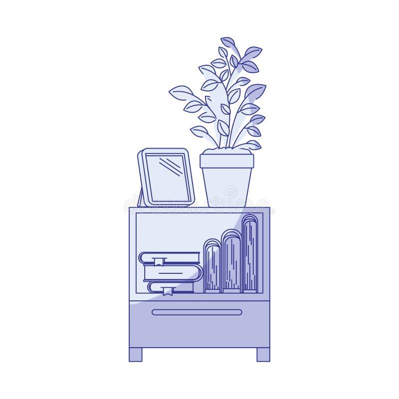 Silueta que sombrea azul de la tabla decorativa del gabinete con los libros y el plantpot stock de ilustración