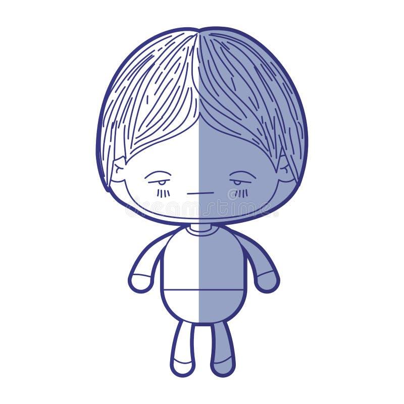 Silueta que sombrea azul del niño pequeño del kawaii con la expresión facial nerviosa stock de ilustración