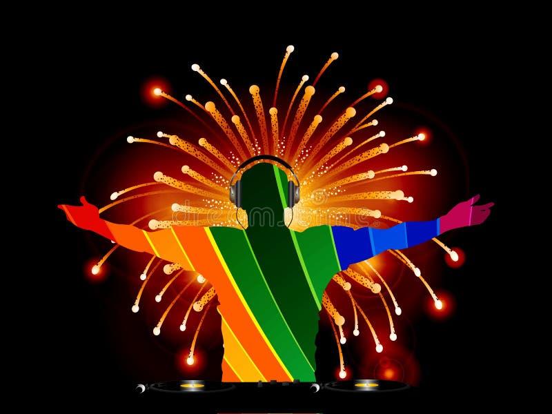 Silueta rayada de DJ sobre fondo de los fuegos artificiales ilustración del vector
