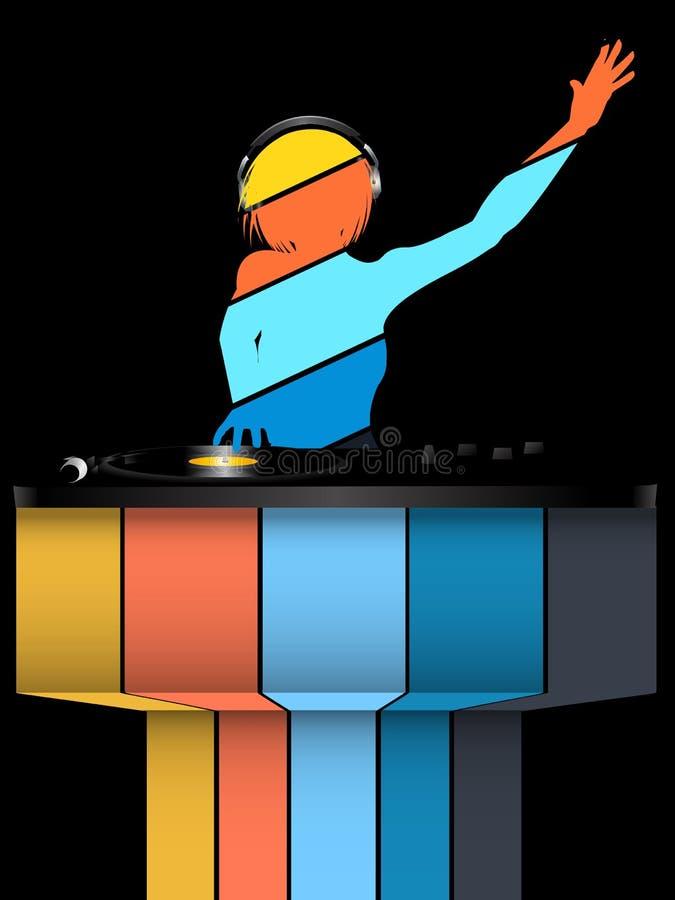 Silueta rayada femenina de DJ y cubiertas de registro en fondo negro y rayado stock de ilustración