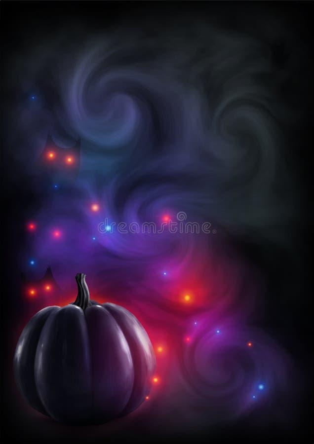 Silueta realista negra de la calabaza en fondo ahumado oscuro con las luces rojas y los ojos místicos Tarjeta de felicitación del stock de ilustración