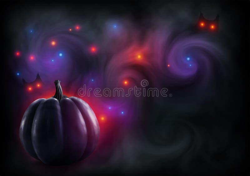Silueta realista negra de la calabaza en fondo ahumado oscuro con las luces rojas y los ojos místicos Tarjeta de felicitación del ilustración del vector