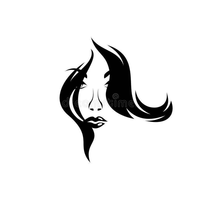 Silueta, retrato del primer de las muchachas de una cara con diseño del pelo rizado libre illustration