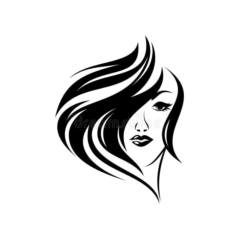 Silueta, retrato del primer del mujeres con diseño del estilo de pelo rizado stock de ilustración