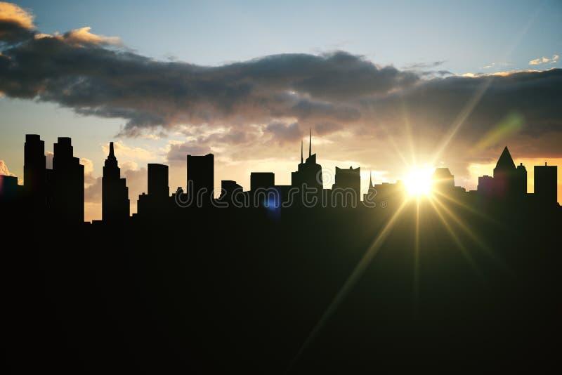 Silueta retroiluminada de la ciudad imagen de archivo libre de regalías