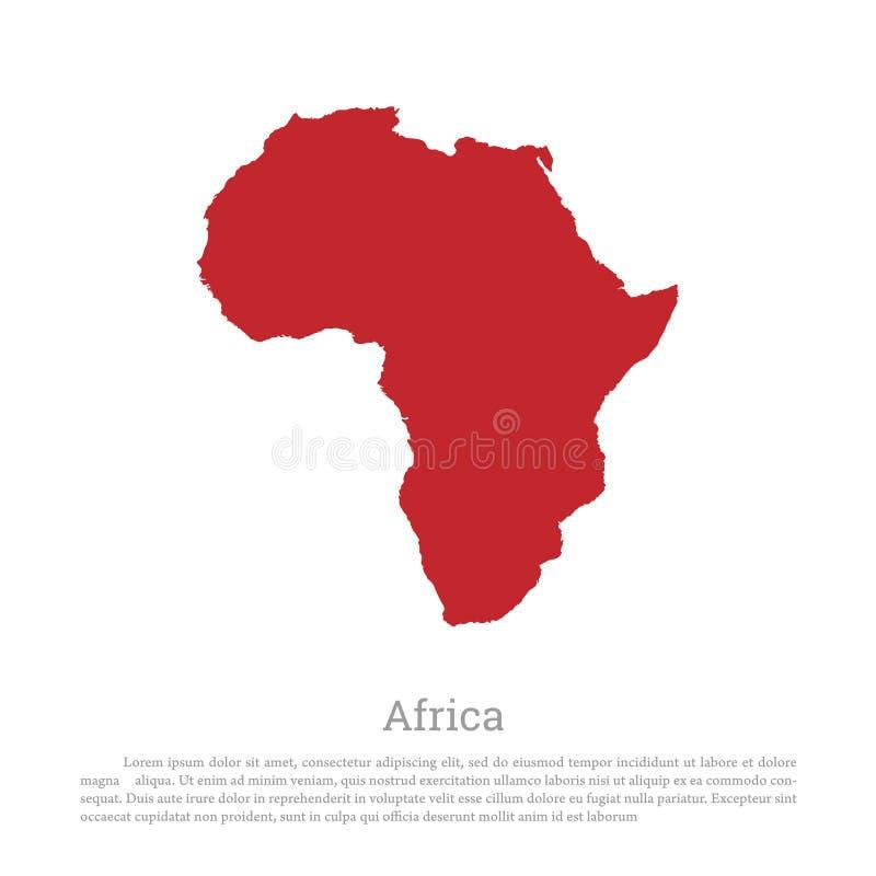 Silueta roja de África continente en un fondo blanco Correspondencia detallada stock de ilustración