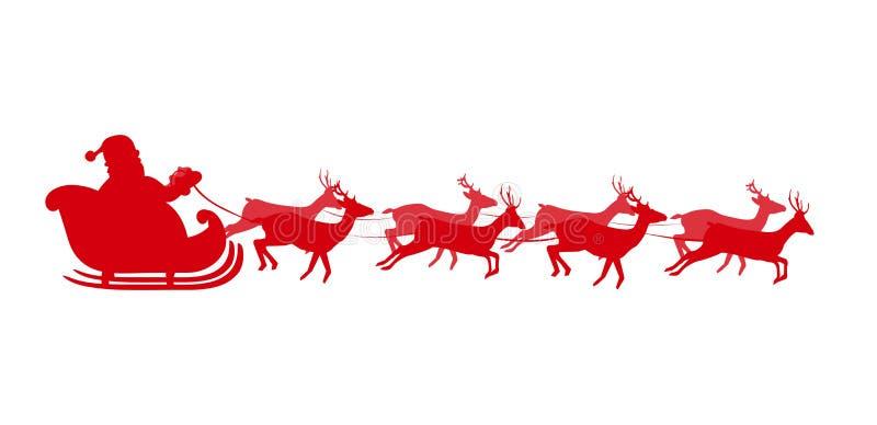 Silueta roja de Papá Noel en el trineo aislado en el fondo blanco libre illustration