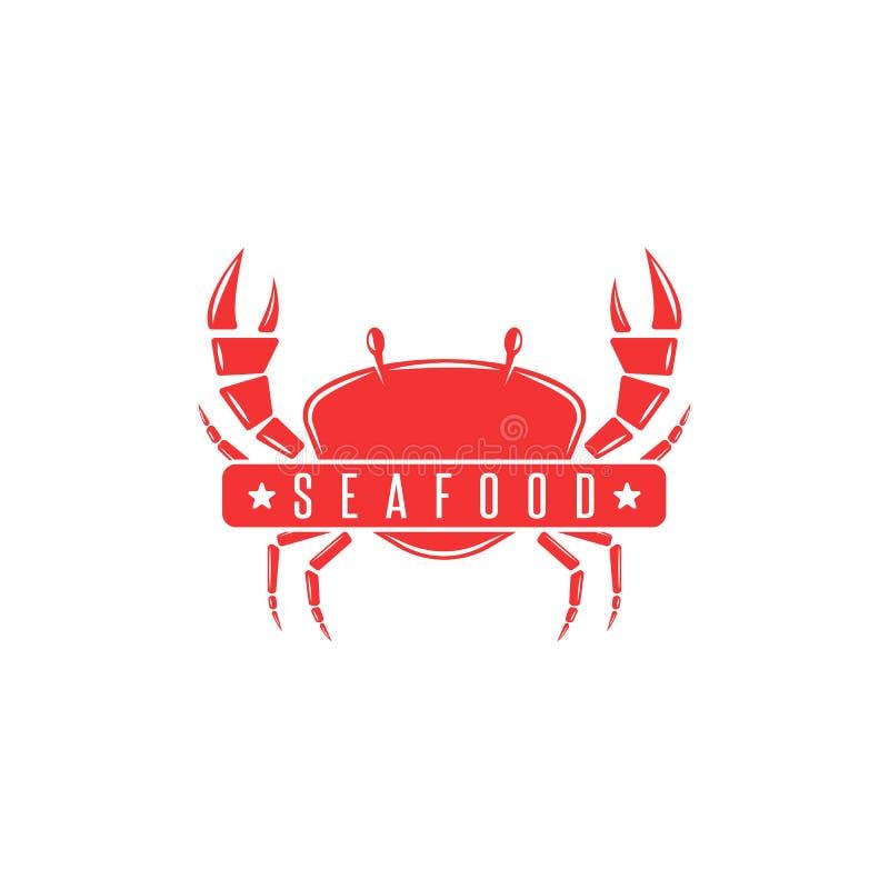 Silueta roja de un crustáceo, emblema del menú de los mariscos, bandera fresca del logotipo del cangrejo de la publicidad de la c ilustración del vector