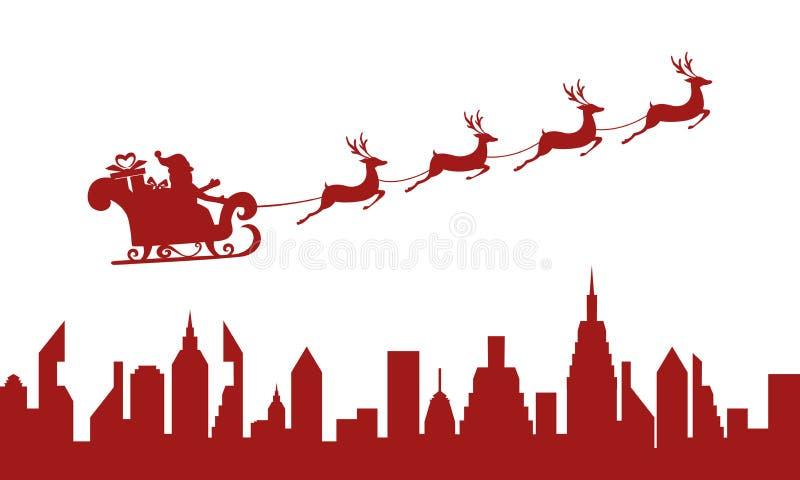 Silueta roja Papá Noel que vuela sobre una ciudad con el trineo del reno stock de ilustración