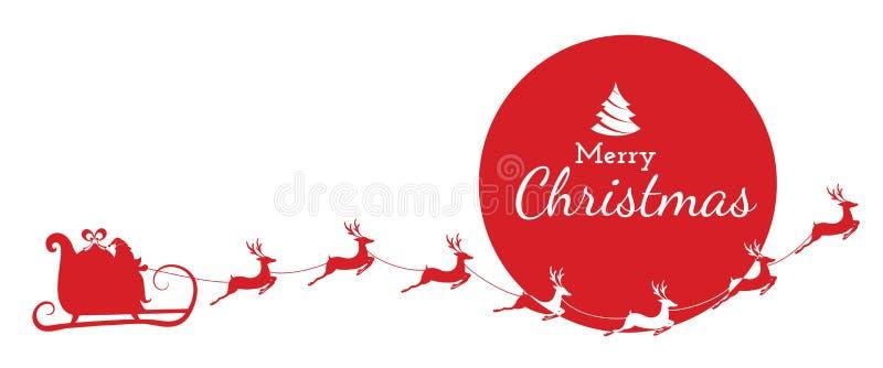Silueta roja Vuelo de Papá Noel con el trineo del reno en el fondo de la Luna Llena stock de ilustración