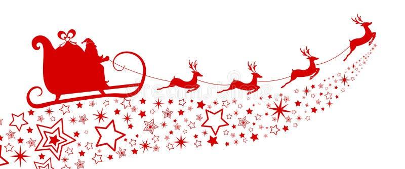 Silueta roja Vuelo de Papá Noel con el trineo del reno en la estrella ilustración del vector