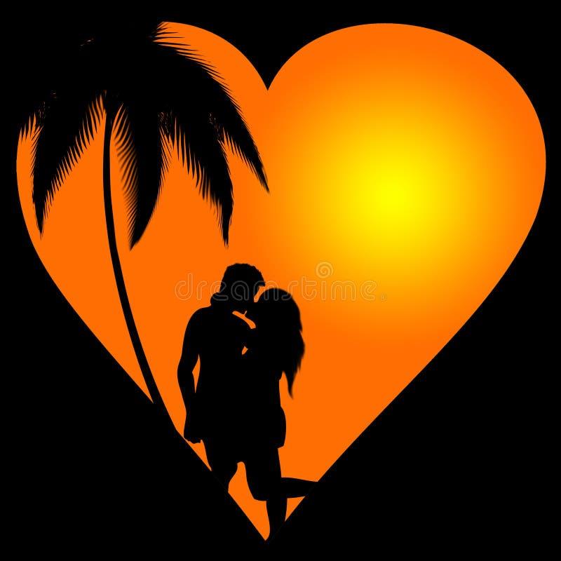 Silueta romántica imagen de archivo libre de regalías