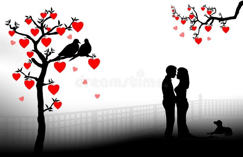 Silueta romántica de los pares ilustración del vector