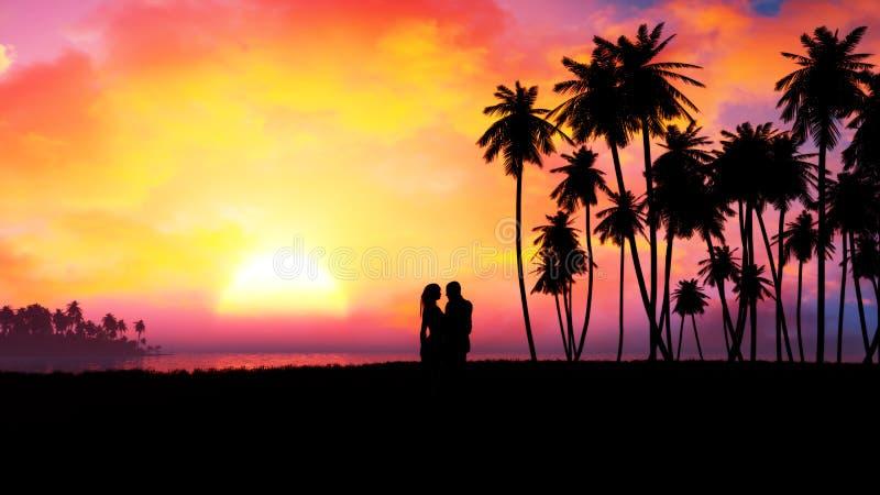 Silueta romántica de los pares en puesta del sol épica ilustración del vector