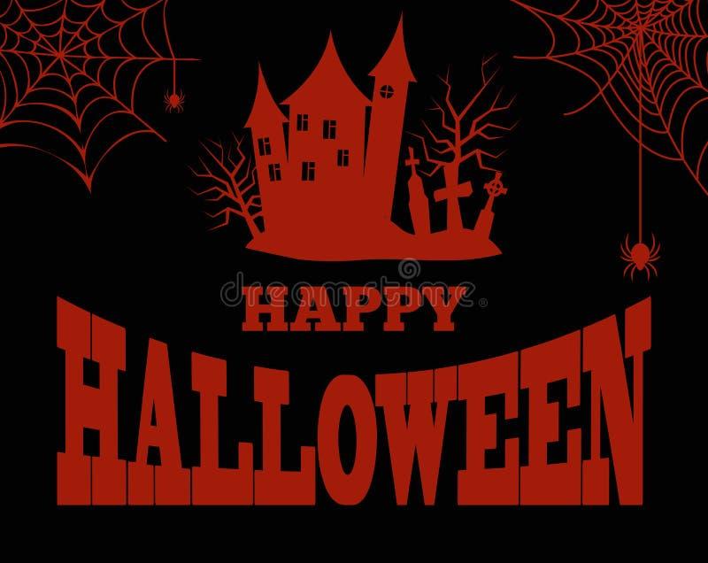 Silueta sangrienta del feliz Halloween de la casa espeluznante stock de ilustración