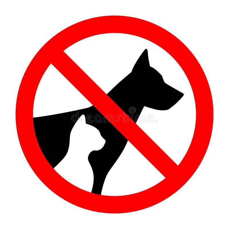 Silueta simple de los animales del perro casero y del gato de la parada de la muestra de la prohibición stock de ilustración