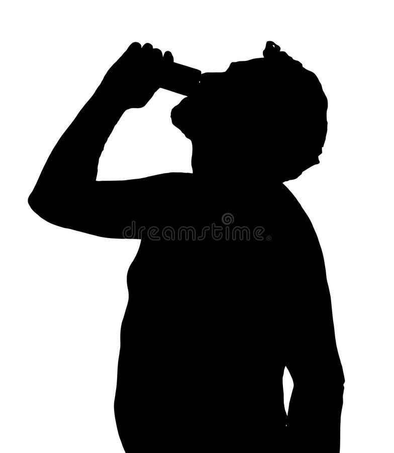 Silueta Stubby European Drinking del hombre de la poder ilustración del vector