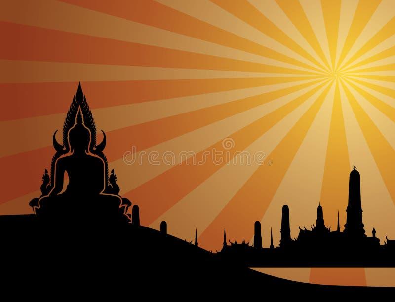 Silueta tailandesa de Buda en fondo anaranjado y templo tailandés Vect ilustración del vector
