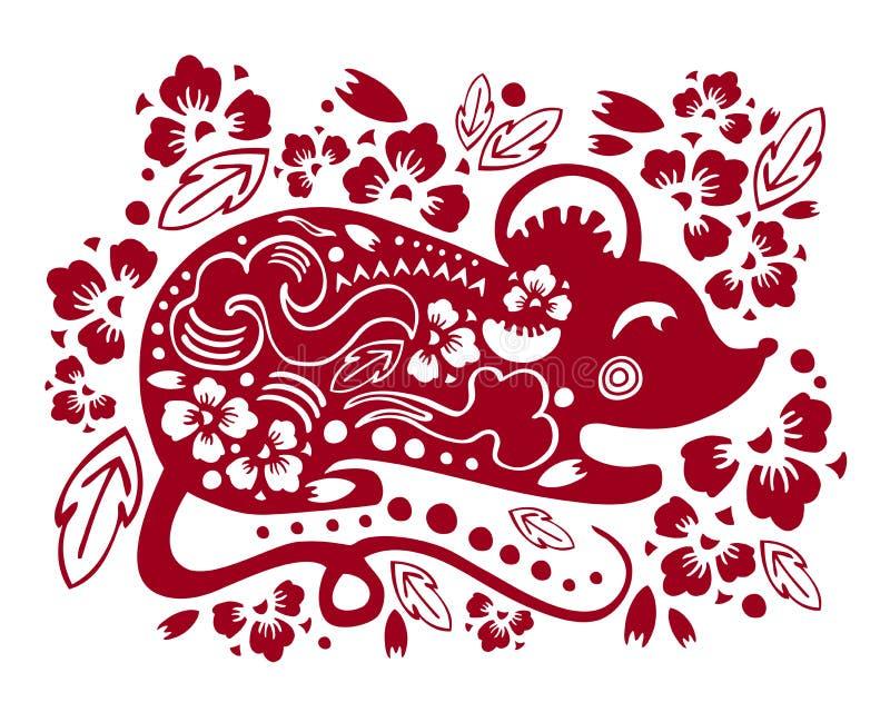 Silueta tradicional del papercut del vector con el ratón estilizado y las flores decorativas Ejemplo por el Año Nuevo chino 2020 stock de ilustración