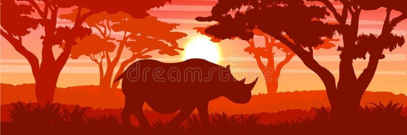 Silueta Un rinoceronte blanco grande en la sabana africana