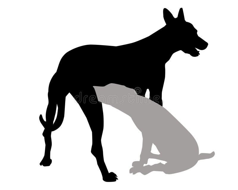 Silueta-vector del perro y del perrito stock de ilustración