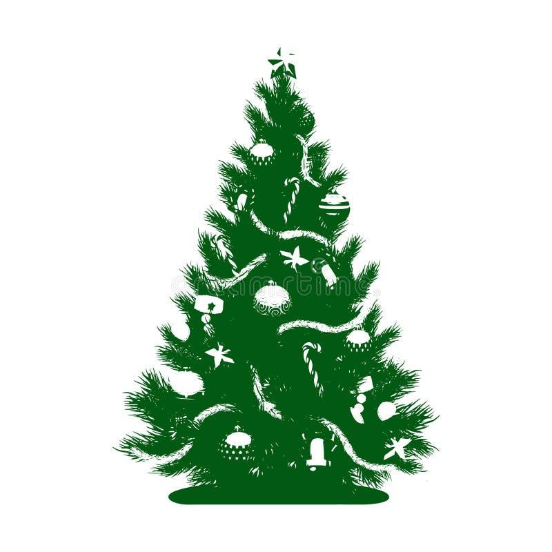 Silueta verde de un árbol de navidad con juguetes y una estrella, ilustración del vector