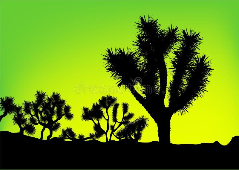 Silueta verde del árbol del fondo stock de ilustración