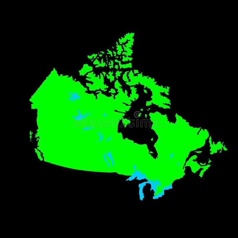 Silueta verde del mapa del vector de Canadá ilustración del vector