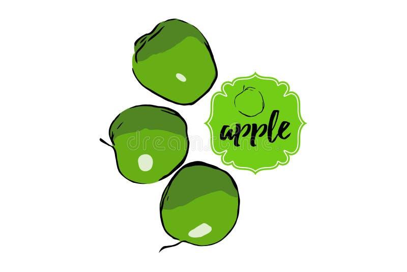 Silueta verde exhausta del bosquejo de tres manzanas de la historieta s aisló en blanco stock de ilustración