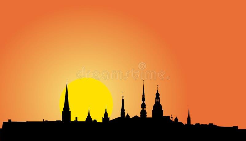 Silueta vieja del panorama de Riga stock de ilustración