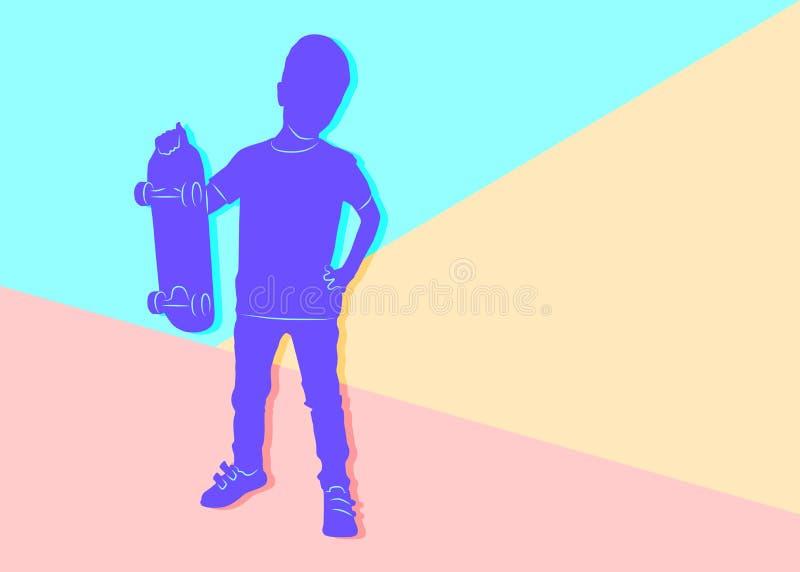 Silueta violeta mínima plana del muchacho que se coloca con un monopatín stock de ilustración