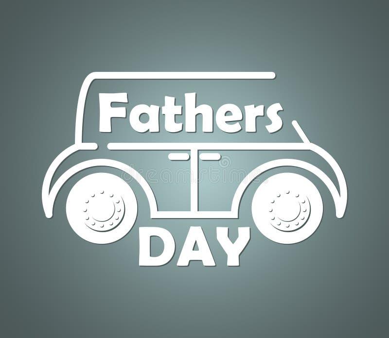 Silueta volumétrica del contorno del coche con el texto congratulatorio inscrito en el día de padres foto de archivo libre de regalías