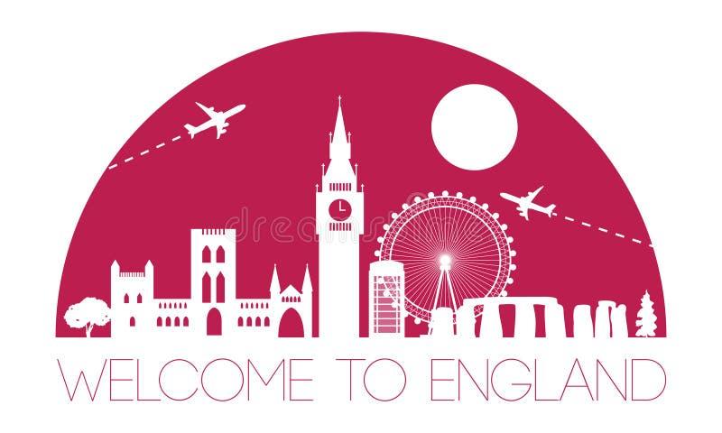 Silueta y bóveda famosas superiores de la señal de Inglaterra con color rosado libre illustration