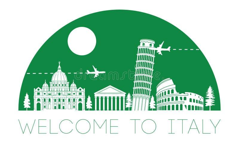 Silueta y bóveda famosas superiores de la señal de Italia con el color verde s ilustración del vector