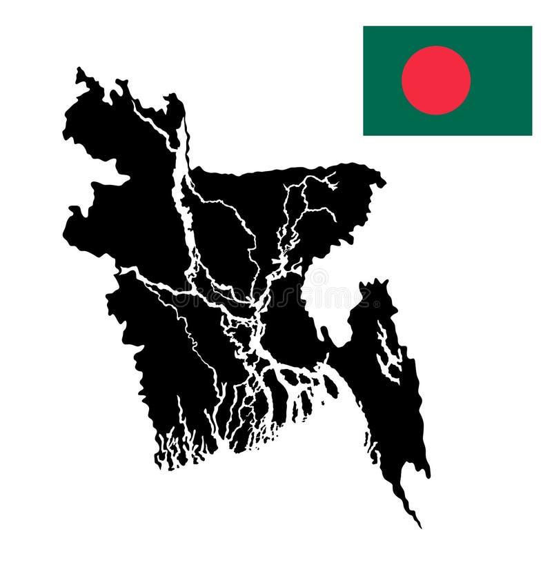 Silueta y bandera del mapa de Bangladesh libre illustration