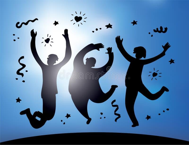 Silueta y cielo de salto felices de la gente del grupo stock de ilustración