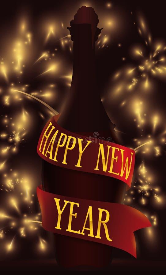 Silueta y cinta de la botella de vino con los fuegos artificiales por el Año Nuevo, ejemplo del vector stock de ilustración