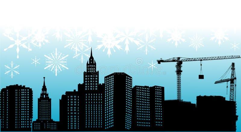 Silueta y copos de nieve de la ciudad libre illustration